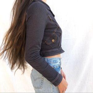866eeb301e502d Women s Jean Jacket With Knit Sleeves on Poshmark